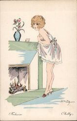 """Chilly"" Scantily Clad Woman Standing by Fireplace Postcard"