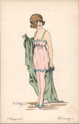 Songeuse - Dreamy - Woman in Short Negligee for Cafe Le Lys Rouge Postcard