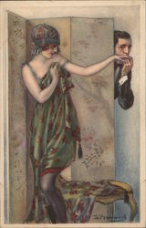 Man Kissing Hand of Woman behind Dressing Screen