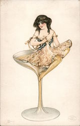 """Martini"" Woman Sitting in Glass of Champagne Postcard"