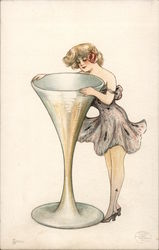 """Sherry"" Woman Looking into Giant Goblet Postcard"