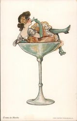 """Creme-De-Menthe"" Woman Sitting And Sipping In Champagne Glass Postcard"