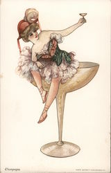 Champagne Woman Sitting On Champagne Glass Postcard