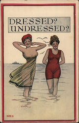 Dressed? Undressed? - two women in swimming costumes Postcard