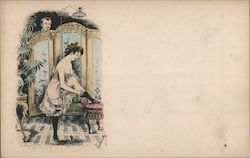 Woman Putting on Stockings as Man Peers Over Dressing Screen Postcard