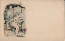 Cartoon - partly nude woman changing behind screen. Unseen man peeking at her. Postcard