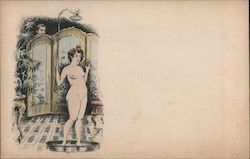 Nude lady starting to shower, man peeping at her behind screen Postcard