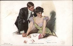 Interrupted Solitaire - man trying to cajole woman playing solitaire