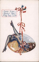 Girl in Suspended Glass Egg: A Very Happy Easter Postcard
