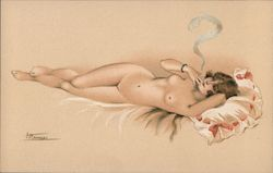 En Costume d'Eve - Nude woman lounging on bed, smoking cigarette