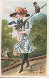 "Young Woman Rifle Man Sitting On Rifle ""There is only Postcard"