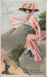 Young Woman Pink Dress & Bonnet On Rock Man Below Postcard