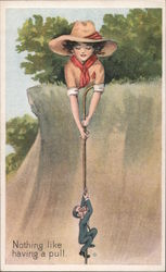Giant Girl Scout holding cane to lift up tiny man Postcard