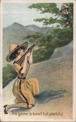"Woman With Rifle Man In Tree The ""game"" is small Postcard"