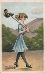 Everything goes here-Girl walking with a small man in net Postcard