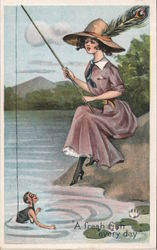 Woman Fishing for Man in Stream: A Fresh Fish Every Day Postcard