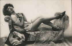 Scantily Clad Woman Lounging on Loveseat Postcard