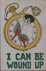 """I CAN BE WOUND UP"" - Cartoon woman acting as watch hands Postcard"