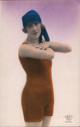 Deco Woman in bathing suit Postcard