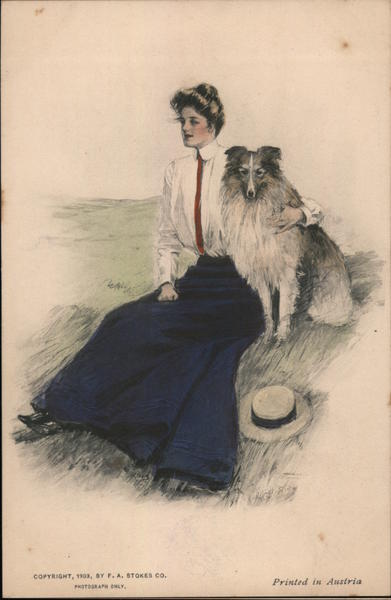 Woman seated on hill with dog Clarence Underwood Artist Signed