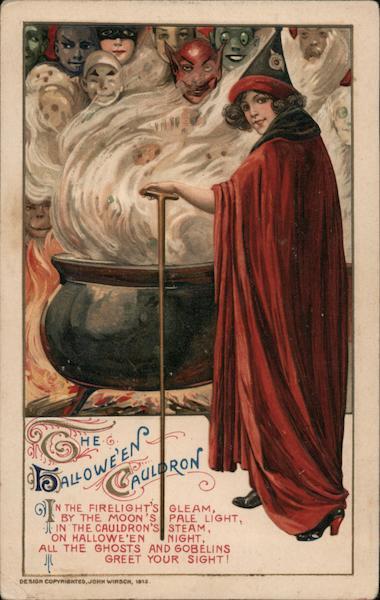 Rare Halloween Cauldron Witch in Red Samuel L. Schmucker