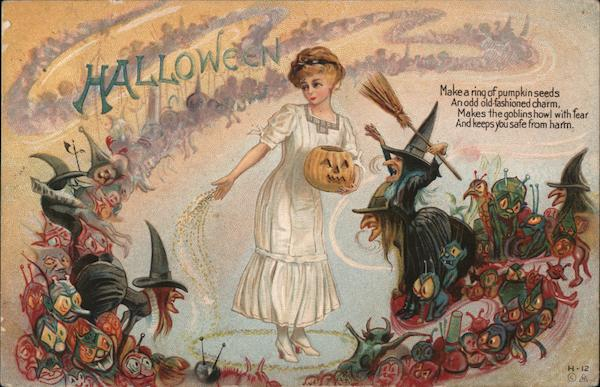 Girl Puts Pumpkins Seeds Around Her to Ward Off Goblins and Witches H-12