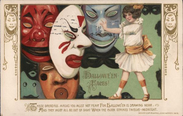 Halloweeen Faces!  Girl with Masks Samuel L. Schmucker