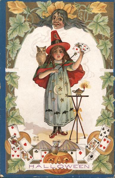 Girl Witch Costume Cards Owl Bat Jack O Lantern Hallowe'en