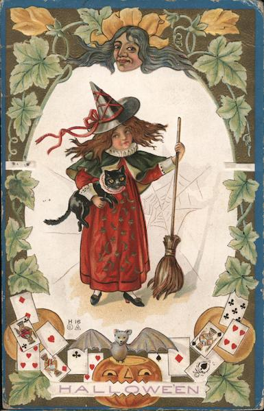 Young Witch with Black Cat and Broom: Hallowe'en E. Nash
