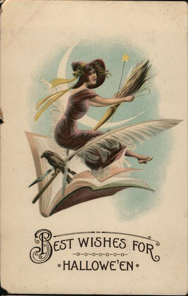 Best Wishes for Hallowe'en - Pretty Witch Riding Broom through an Open Book