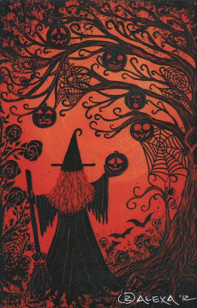 Tree Jack O Lanterns Webs Witch Redheaded Witch #1 By