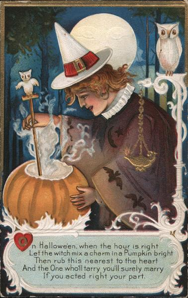 Witch Mixing Brew in Pumpkin Halloween