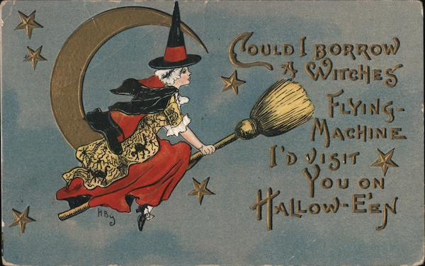 Witch Flying By Moon Halloween