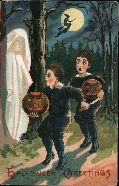 Two Boy's Scared by Ghost: Halloween Greetings