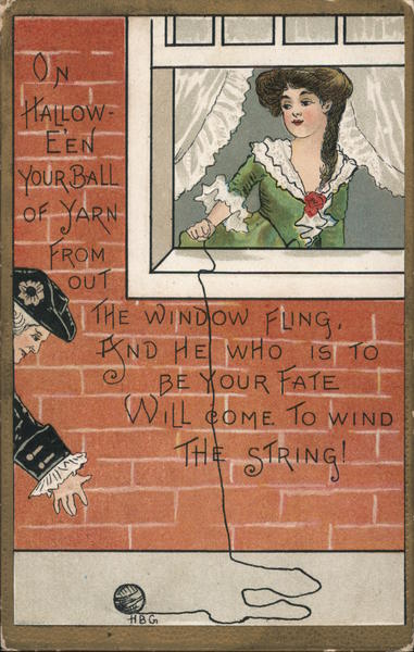 Woman Holding End of String Out Through Window H. B. Griggs (HBG)