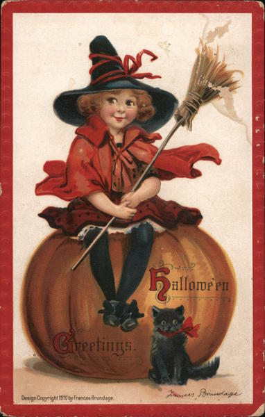 Hallowe'en Greetings-Witch child holding a broomstick sitting on a pumpkin with a black cat.