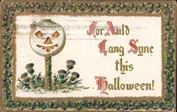 For Auld Lang Syne this halloween!-White pumpkin on a tree growing from the ground.