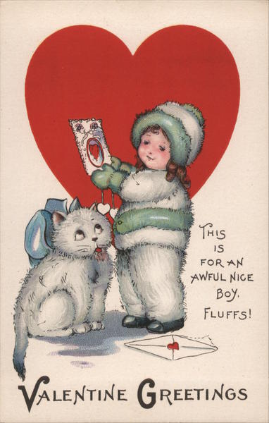 Valentine Greetings Girl in coat and furry pants with a cat