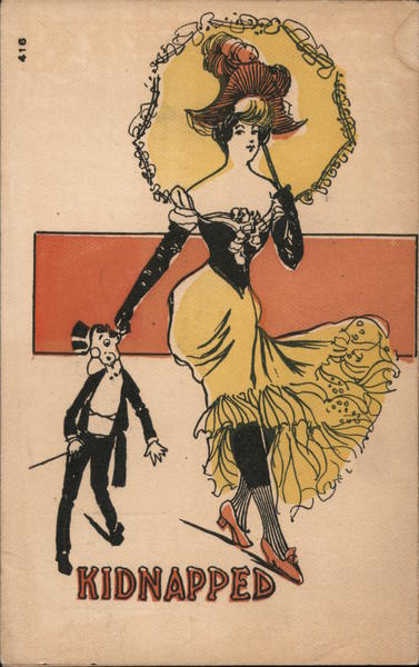 Lady in flapper dress with umbrella on her shoulder pulling a man in tuxedo by the ear. The caption