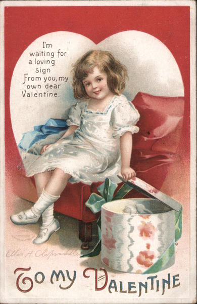 To My Valentine - A Girl Opening a Package Ellen Clapsaddle