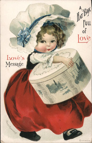 Love's Message Girl holding a Hat Box Full of Love