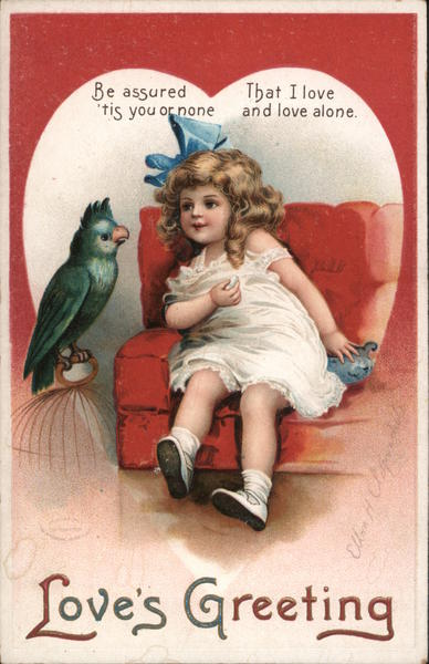 Love's Greeting Girl sitting in chair looking at bird