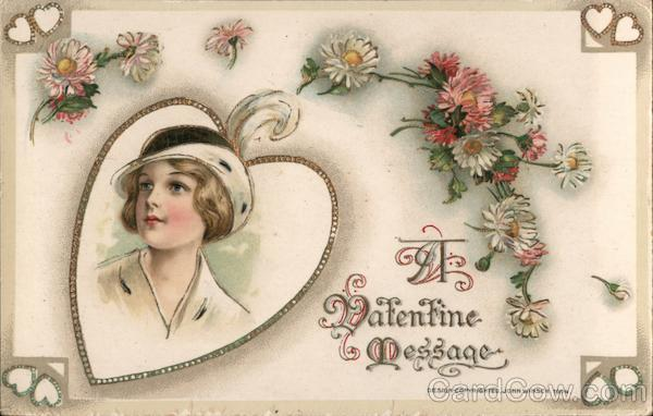 Woman in Heart Surrounded by Flowers, A Valentine Message