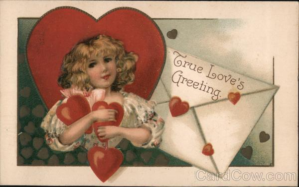 True Love's Greeting Valentine- Woman holding hearts