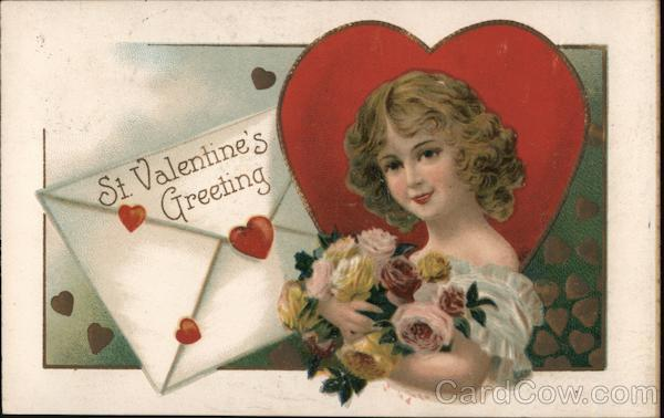 St. Valentine's Greeting - Girl Holding Bouquet of Roses in Front of Heart and Envelope
