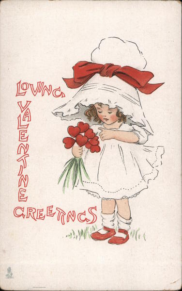 Loving Valentine Greetings Little Girl with Heart Bouquet