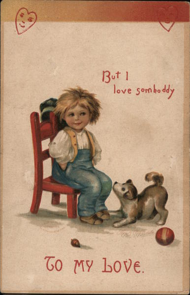 To my love, but I love somboddy boy on red chair with dog and ball