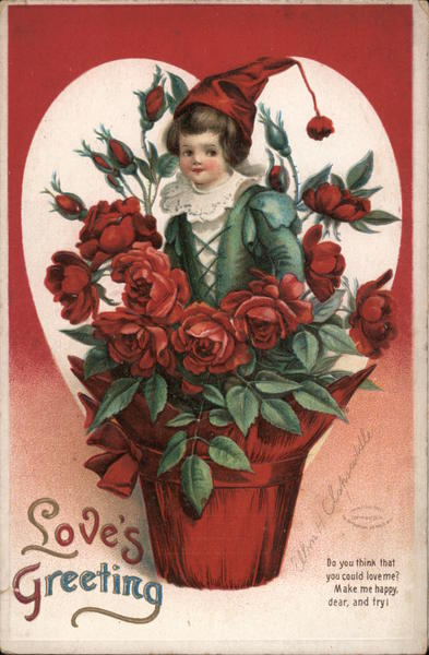 Love's Greeting- elf coming out of pot of red roses