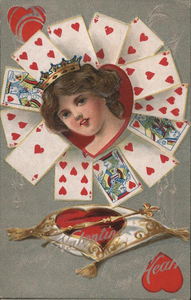 Valentine Heart - woman wearing crown, surrounded by playing cards with hearts