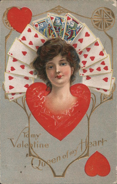 Woman's Head Appears from Heart, Hearts Playing Cards Behind, To My Valentine, Queen of my Heart